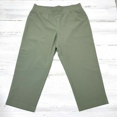 Pure Jill Fit Athletic Wear Stretch Cropped Capri Pants Small Petite Olive Green