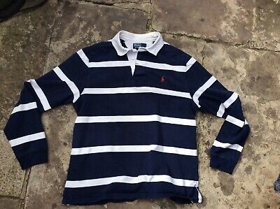 Mens Blue & White Ralph Lauren Polo Rugby L/Sleeve Shirt Size Large In Vgc