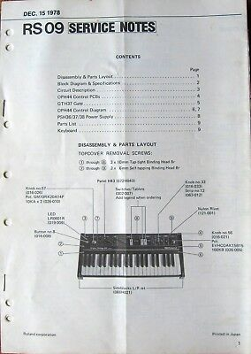 Roland RS-09 Synthesizer Keyboard Original 1978 Service Manual Notes Book