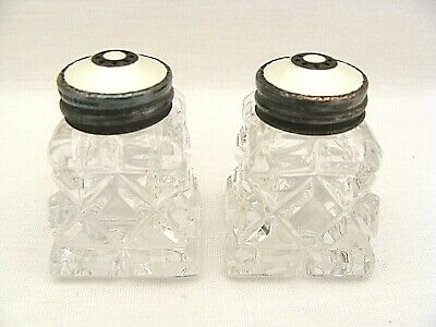 Norwegian Sterling & Guilloche Enamel Topped Glass Salt & Pepper Set Crown Mark