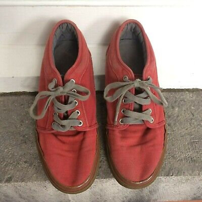 Vans Off the Wall Mens Size 10 Red Canvas Sneakers TB6Q Waffle-Sole Skate Shoe