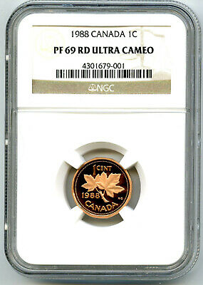1988 Canada Cent Ngc Pf69 Rd Proof Penny Extremely Rare Top Pop Only 7 Cert 001