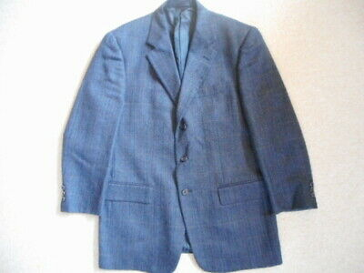Mens Blazer-OLIVER-navy blue herringbone/plaid wool blend lined-40R