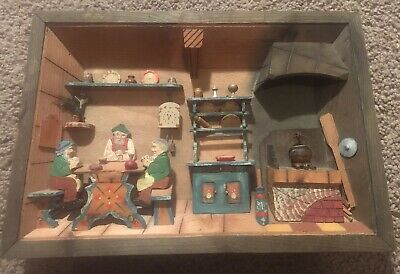 Wooden 3D Diorama Folk Art Wall Hanging Rustic Kitchen VTG Hand Made Shadow Box