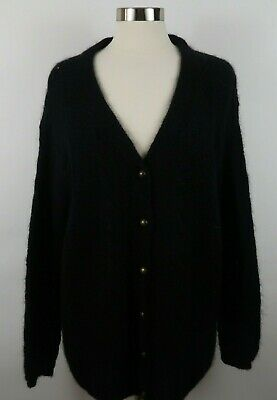 United Colors of Benetton Mens Mohair LS Black Cardigan Sweater Italy Made XL?