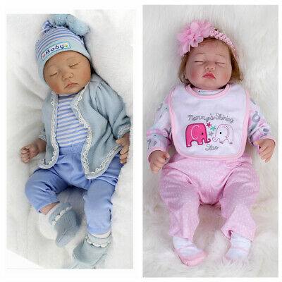 "22""Reborn Baby Dolls Lifelike Boy+Girl Vinyl Silicone Newborn Twins Doll+Clothes"