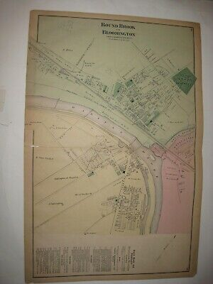 Antique 1873 Bound Brook Bloomington Somerset County New Jersey Handcolored Map