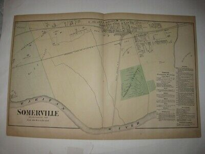 Antique 1873 Somerville South Part Somerset County New Jersey Handcolored Map Nr