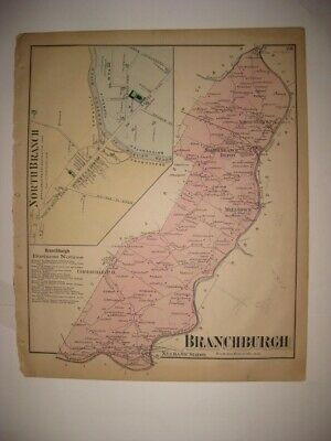 Antique 1873 Branchburg Township North Branch Somerset County New Jersey Map Nr
