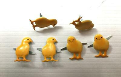 BRADS CUTE BABY YELLOW CHICKS pk of 6  split pin craft cards EASTER