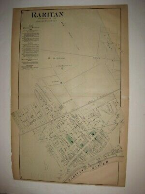 Antique 1873 Raritan Somerset County New Jersey Handcolored Map Detailed Rare Nr