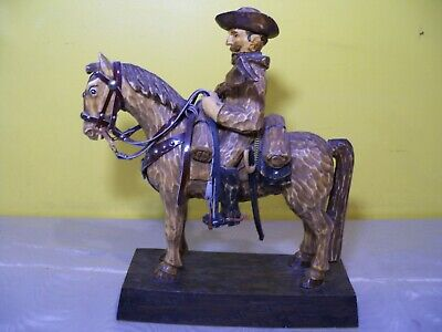 Rare Vintage Signed One Of A Kind Civil War George Custer & Horse Wood Carving