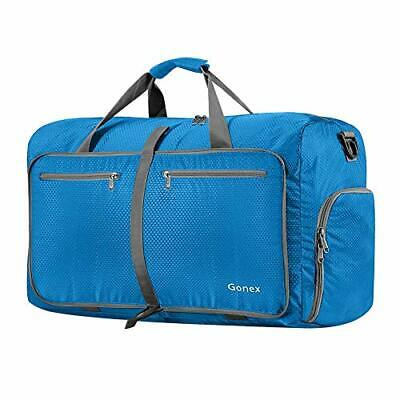 60L Packable Travel Duffle Bag Foldable Duffel Bags for Luggage Gym Blue