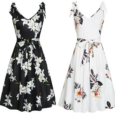 Women's Summer Sleeveless V Neck Floral Faux-Wrap Dress Beach Tunic Midi Dress
