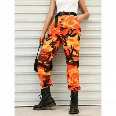Womens Camouflage Hiphop Military Overall Pants Casual Outdoor Trousers jh00
