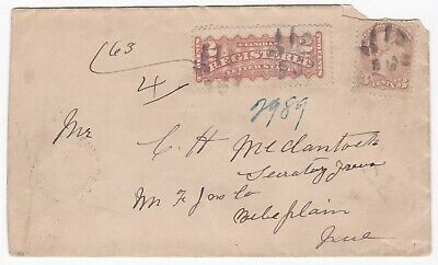 CANADA 3c SMALL QUEEN & 2c REGISTERED STAMPS St ETIENNE >QUEBEC COVER REGd 1888
