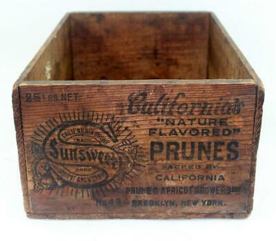 Vintage California Sunsweet Nature Flavored Prunes Advertising Wood Crate Box