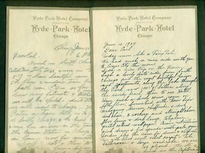 LOT of 2, HUMOROUS 1934 HYDE PARK HOTEL CHICAGO IL LETTERS to SON from MOM & DAD