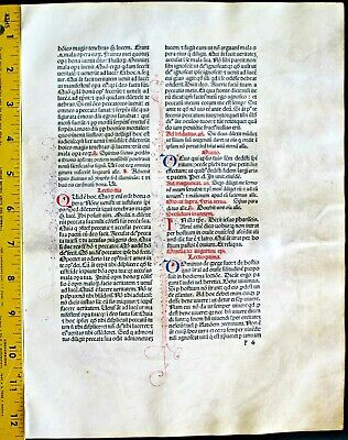 Extremely rare incunabula,Breviary leaf on vellum,handpt.initials,Jenson,1478#1D