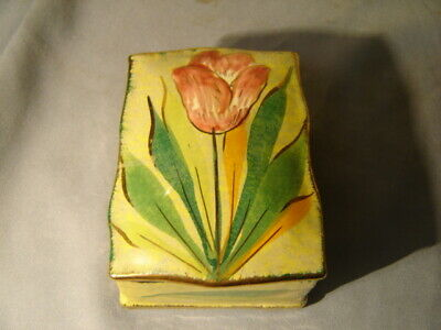 Vintage Mid Century Modern Italy Pottery Tulip Pattern Trinket Box Signed MBD