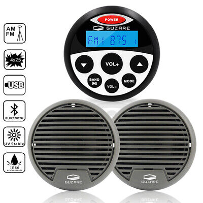 Marine Bluetooth Stereo Radio Car Audio + Boat Flush Mount Speakers+FM/AM Aerial