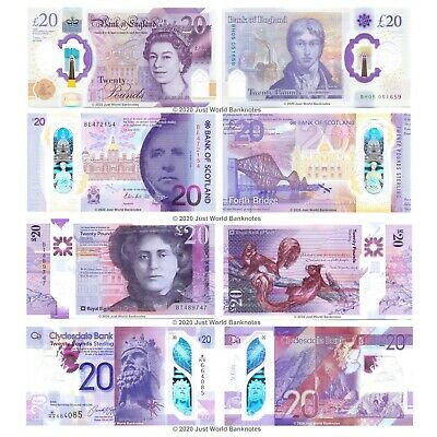 BOS + RBS + Clydesdale Bank + Bank of England £20 2019 Polymer Set 4 PCS UNC