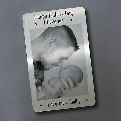 Novelty 1st Fathers Day Gift For Dad Metal Wallet Card Personalised Daughter Son