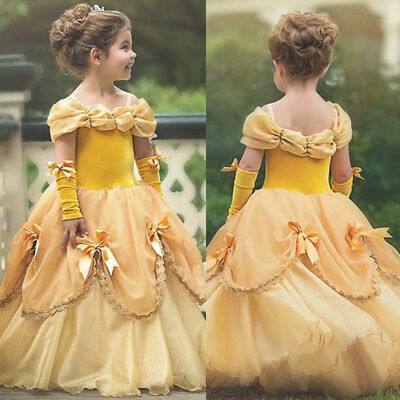 Princess Belle Yellow Off Shoulder Layered Costume Dress Little Girl 2-10 Years