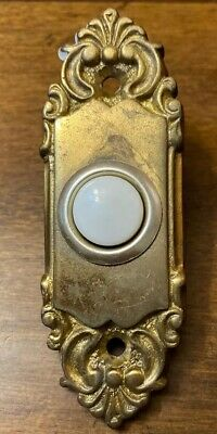 VTG Ornate Brass Door Bell Button Architecture Salvage Hardware Ready To Use