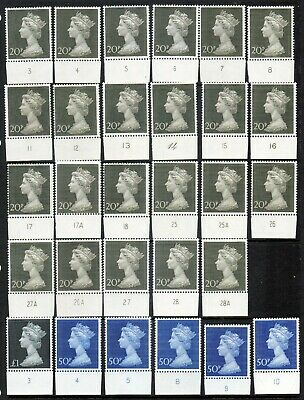 1970 20p - £1 Machin High Values in Plate pieces x 29 mint. All different