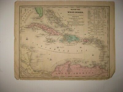 Antique 1839 West Indies Map Cuba Florida Jamaica Puerto Rico Caribbean Map Rare