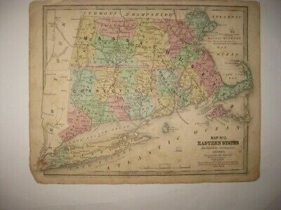 Antique 1839 Massachusetts Connecticut Rhode Long Island Dated Handcolored Map