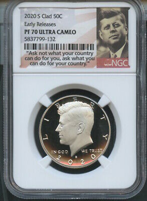 2020 S Clad Kennedy 50C Early Releases NGC PF70 U.C. Portrait