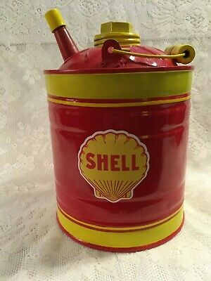 SHELL Vintage GAS Kerosene CAN Station Oil Co Sign 1 Gallon Spout NICE Motor Car