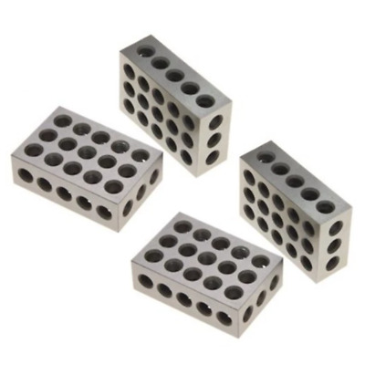 "2Pcs Matched Ultra Precision 1-2-3 Blocks 23 Holes .0001"" Machinist 123 US"