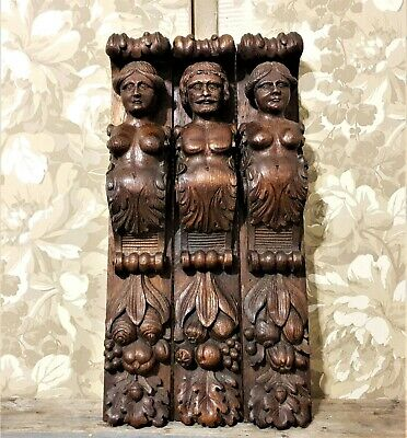 3 Nude caryatid wood carving corbel bracket Antique french architectural salvage