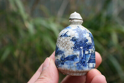 Chinese Porcelain Blue White Painted & Pattern Snuff Bottle