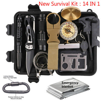 14 in 1 Survival Kit  Outdoor Camping Military Tactical Gear Emergency EDC Tools
