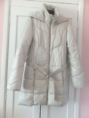 M & S Woman Hooded Cream Padded Coat Jacket With Belt Size Small