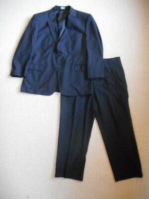 Mens Suit-JOS. A. BANK-black pinstriped 100% wool lined-46R