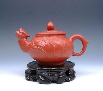 Chinese YiXing Zisha Pottery Hand Crafted Teapot w/ Phoenix Spout W/ FREE STAND