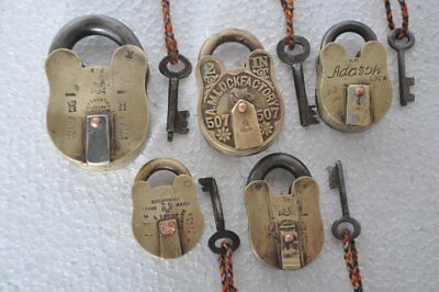 5 Pc Old Brass Different Handcrafted Solid Unique Brass Padlocks , Rich Patina