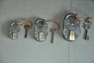 3 Pc Old Iron Handcrafted Different Shape Solid Padlock , Rich Patina