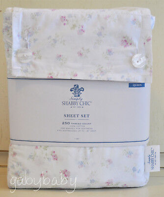 Simply Shabby Chic Cotton Candy Floral Pink Blue QUEEN Sheet Set Rachel Ashwell