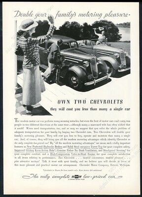 1936 Chevrolet convertible and sedan car photo unusual vintage print ad