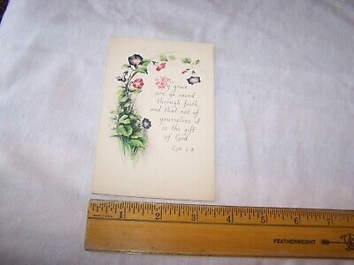 Antique Vintage BIBLE VERSE Postcard EPHESIANS 2 : 8