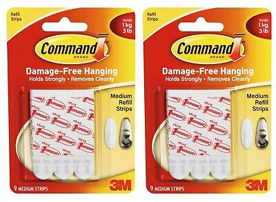 18 x 3M COMMAND MEDIUM REFILL HANGING STRIPS DAMAGE FREE - HOLDS 3 LB