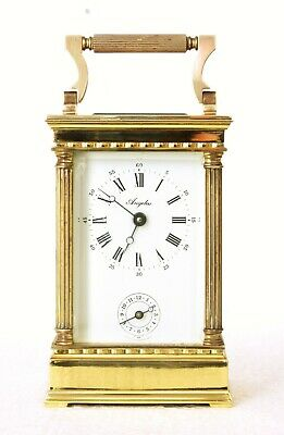 "L'epee Angelus Gilt Brass Carriage Clock With Alarm, 6"", Very Good Condition"