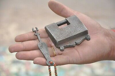 Old Iron Handcrafted Unique Shape Strip System Padlock , Rich Patina