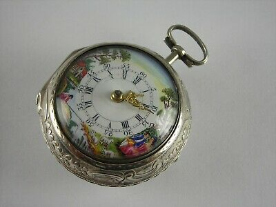 Antique English Painted dial verge fusee Repousse pocket watch. Made 1776. Rare
